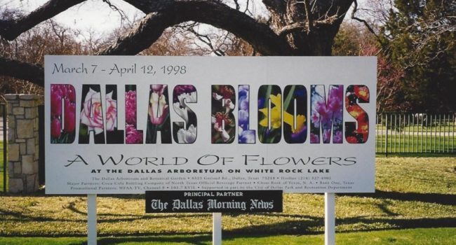 Debbie Block hand painted this sign for the Dallas Arboretum.